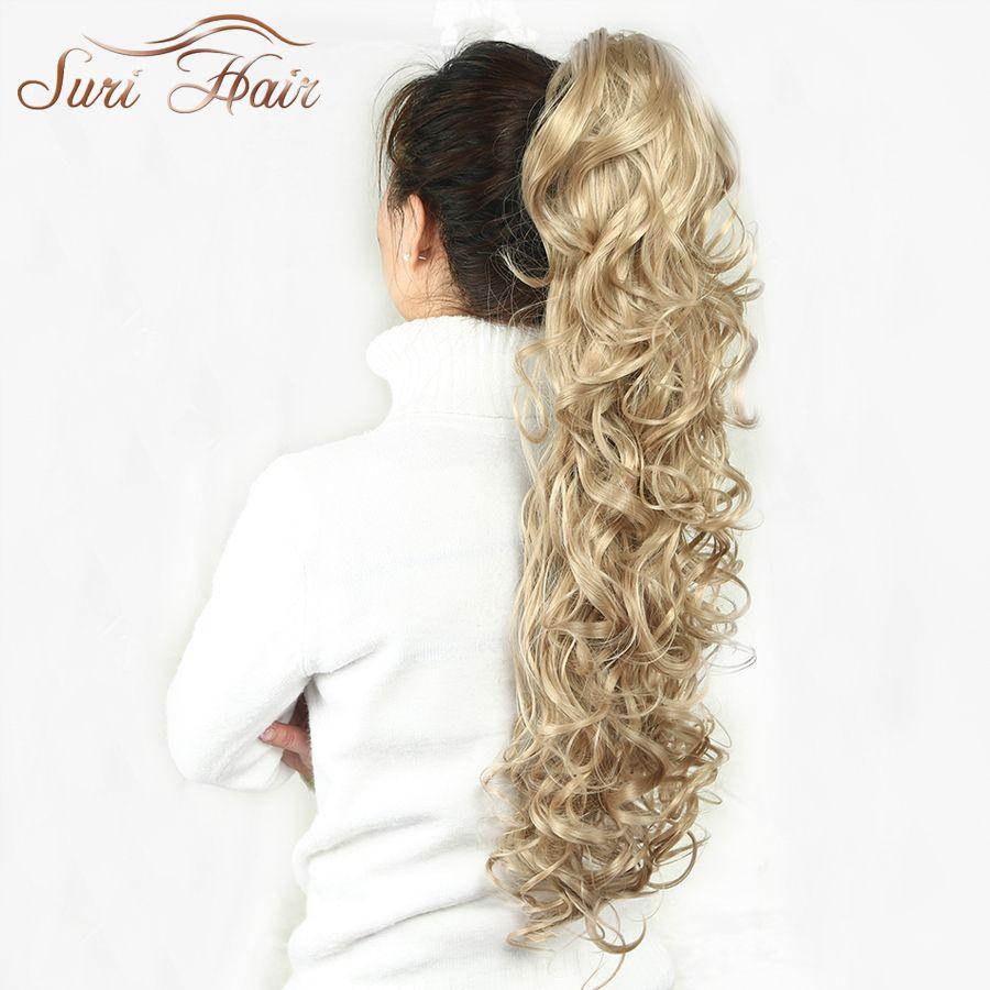 Suri Cheveux Femmes Postiche Queue de Cheval Ondulés Griffe Extensions de Cheveux Faux 32 pouce 220g Noir/Blonde 7 Couleurs Disponible