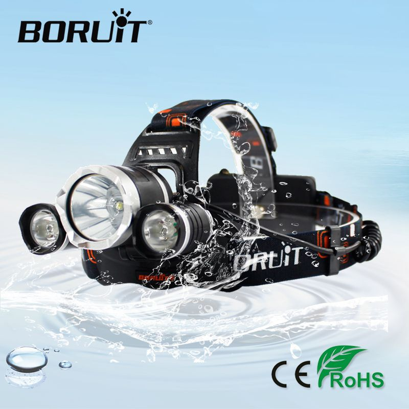 BORUiT RJ-3000 6000LM XM-L2 R5 Headlight 4-Mode Headlamp Rechargeable Flashlight Camping Head Torch Hunting <font><b>Lantern</b></font> 18650Battery