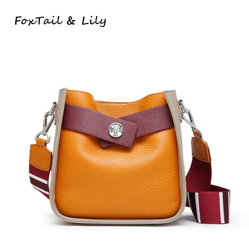 FoxTail & Lily Fashion Panelled Bucket Shoulder Bag Ladies Genuine Leather Tote Crossbody Bag Women Messenger Bags Three Straps