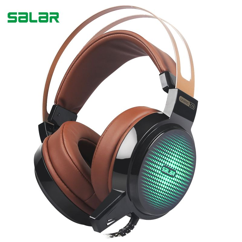 Salar C13 Wired Gaming Headset Deep Bass Game Earphone Computer headphones with microphone led <font><b>light</b></font> headphones for computer pc