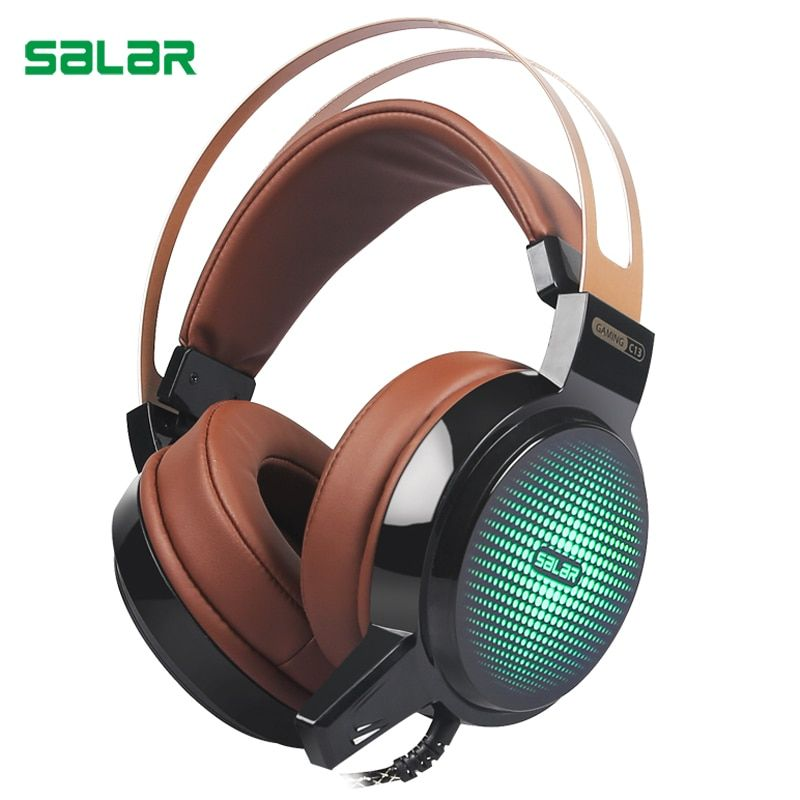 Salar C13 Wired Gaming Headset Deep Bass Game Earphone <font><b>Computer</b></font> headphones with microphone led light headphones for <font><b>computer</b></font> pc