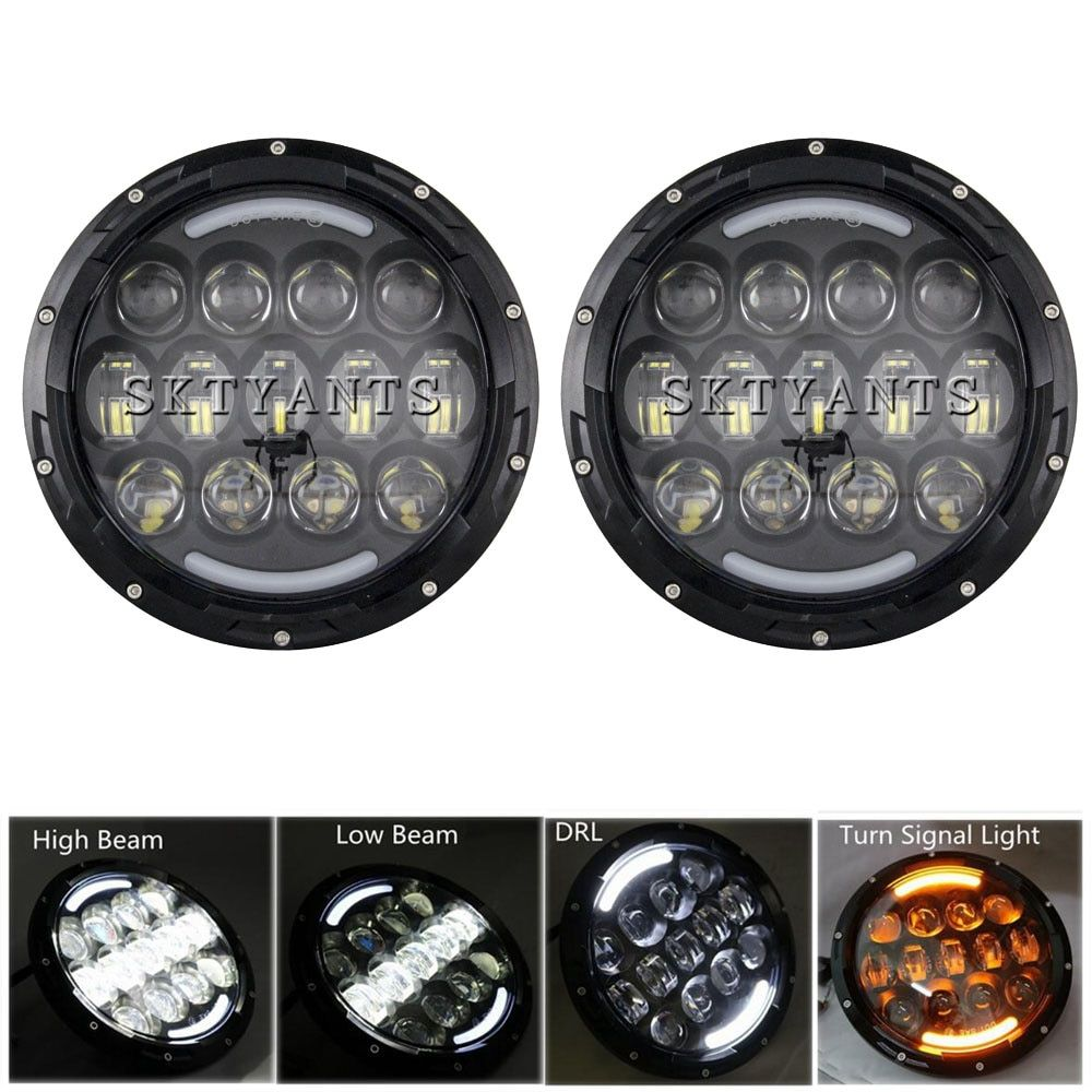 105W 7 Inch Round LED Headlight White/ amber Turn Signal DRL High Low Beam for JEEP Wrangler 2007-2015 Jk Tj Fj