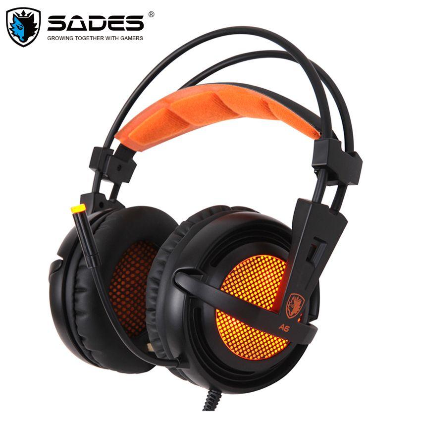 Sades A6 casque de gaming casque 7.1 Son Surround Stéréo USB casque de jeu avec Microphone lumières led respiration pour joueur pc