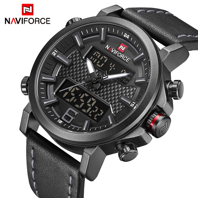 Top Luxury Brand NAVIFORCE Mens Sports Watches Men Quartz LED Digital Clock Men Fashion Leather Waterproof Military Wrist Watch
