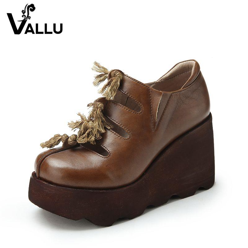 Кожаные туфли-лодочки Обувь женщина 2018 Пояса из натуральной кожи платформа на высоких каблуках Обувь Cut Out Fringe ручной работы Винтаж Повседне...