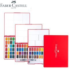 Faber-Castell 24/36/48Colors Solid Water Color Painting Set Box With Paintbrush Bright Color Portable Watercolor Pigment Set