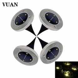 4 PCS/Lot LED Solaire Lumière Extérieure 4 Led Lumière Au Sol LED Jardin Pelouse Lumière Solaire Métro Lumières Blanc et blanc chaud