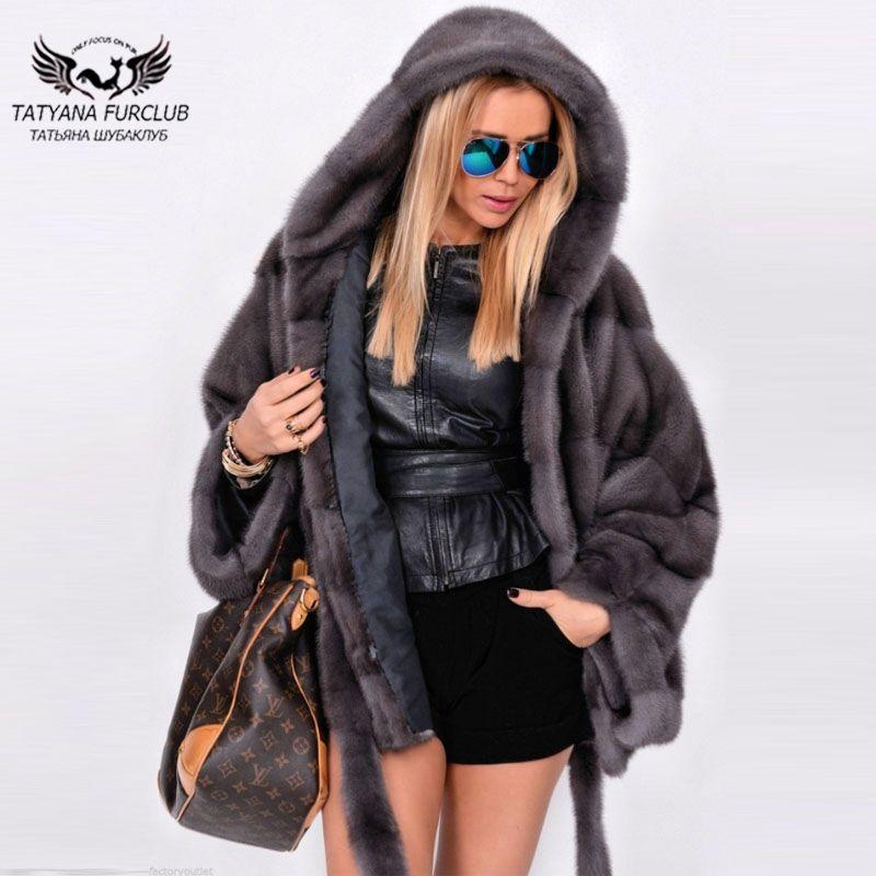 Tatyana Furclub Echt Pelzmantel Frauen Natürliche Nerz Pelz Mäntel Winter Fledermaus Ärmeln Jacke Warm Mit Pelz Kapuze Und Gürtel schlank Batwing