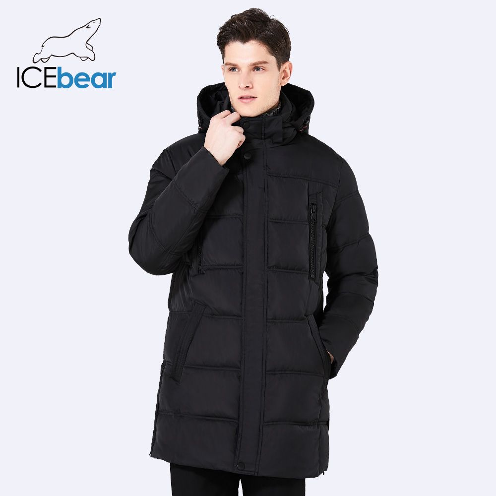 ICEbear 2017 Top Quality Warm Men's Warm Winter Jacket Windproof Casual Outerwear Thick Medium Long Coat Men Parka 16M899D