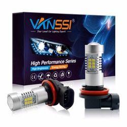 VANSSI 2 шт. H8 H11 Светодиодные лампы H10 9145 HB3/9005 HB4/9006 2504 PSX24W 5202 H16 LED Противотуманная фара DRL  Лампа яркий  Белый 6000K