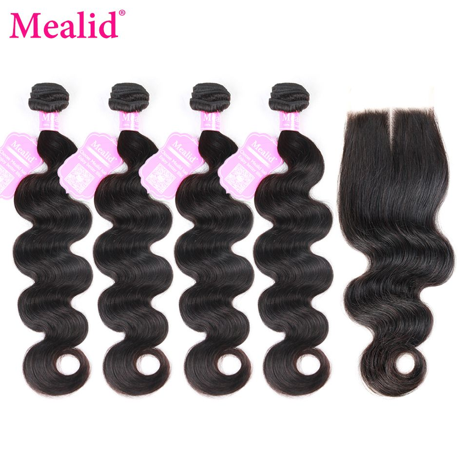 [Mealid] 4 Bundles Peruvian Body Wave Bundles With closure Natural Color Non-remy Human Hair Bundles With Closure