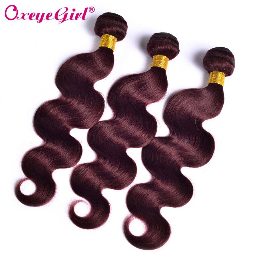 Bourgogne paquets de cheveux humains paquets vin 99j rouge brésilien corps vague paquets de cheveux humains armure de couleur paquets Non Remy Oxeyegirl