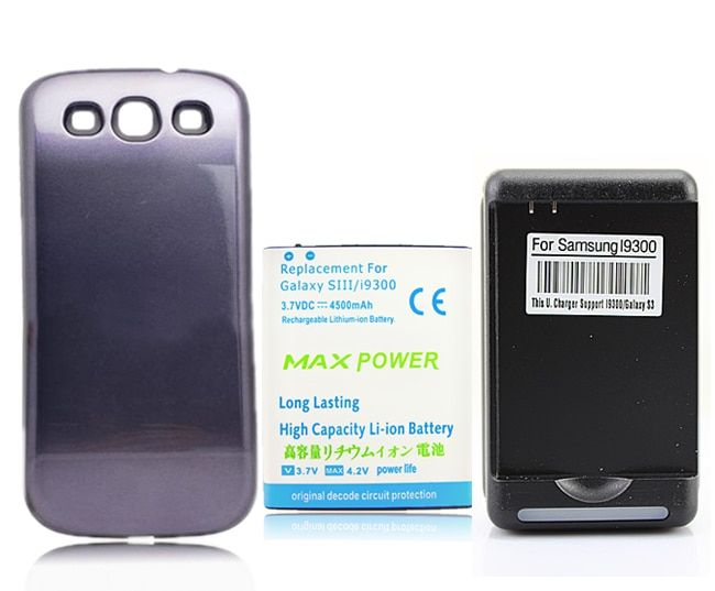 NEW 4500mAh Extended Battery + Dark Blue Back Case + USB Wall charger For Samsung Galaxy S3 III S3 i9300