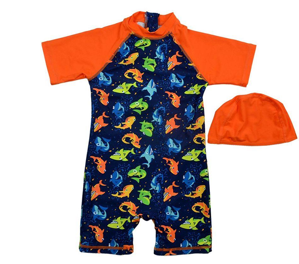 Bonverano (TM) Infant Jungen Bademode Sunsuit UPF 50 + Uv-schutz S/S Reißverschluss Hai Drei Ein Badeanzug Rashguard