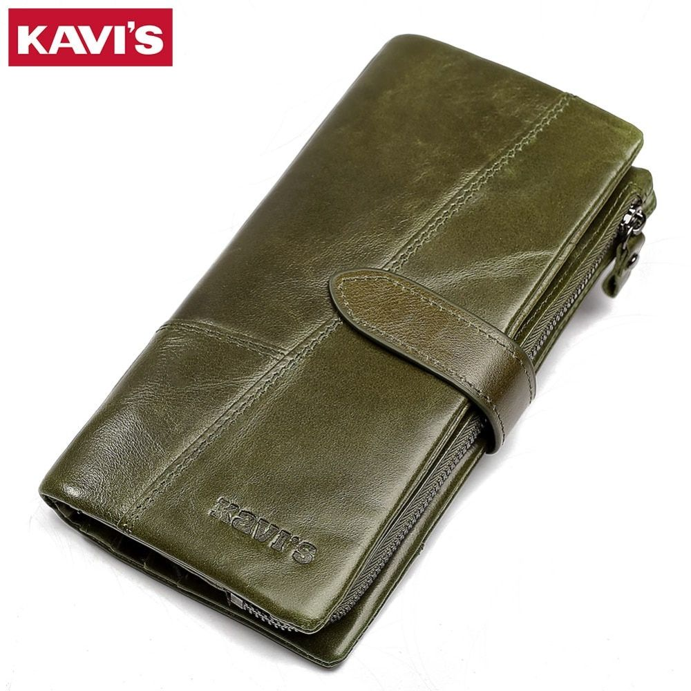 KAVIS Fashion 100% Genuine Leather Wallet female Coin Purse Portomonee Handy Long Clamp for Money Lady Vallet Card Holder Girls