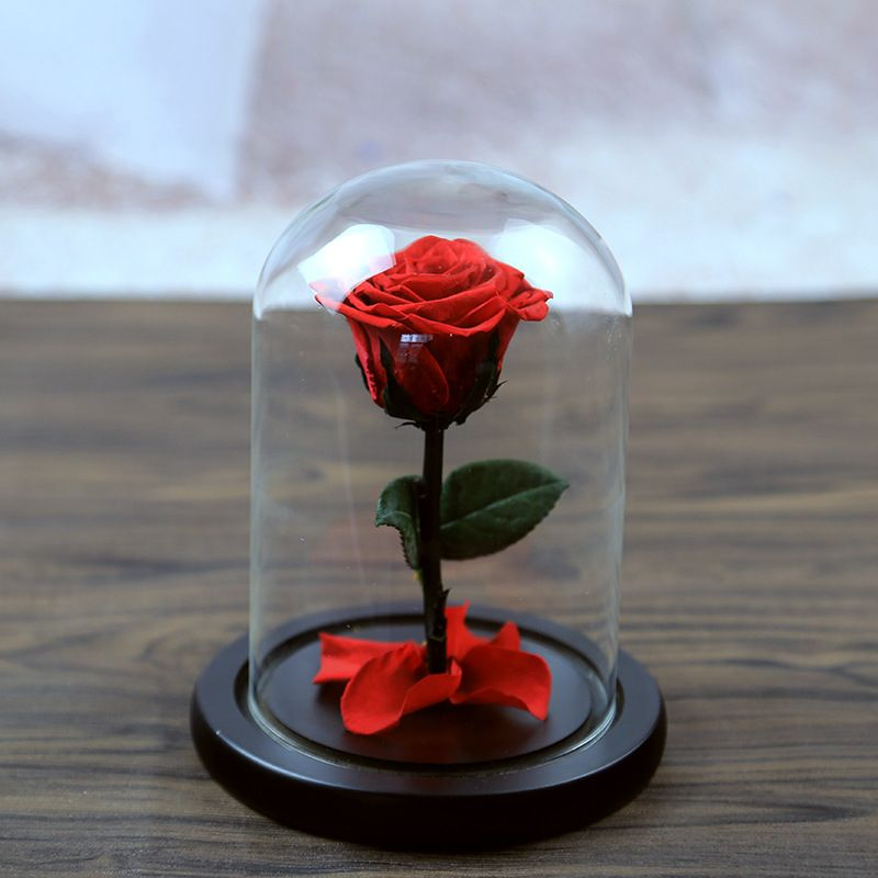 5 Color The Beautiful Glass Cover Fresh Preserved Rose Flower <font><b>Wedding</b></font> Home Birthday Party Car Decoration