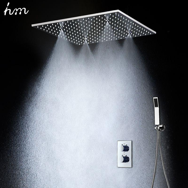 20 regen Hand Dusche Kopf Thermostat Dusche Set SUS304 Spiegel Panel mit Dusche Kopf Nebel Spray SPA Embedded Box verdeckte