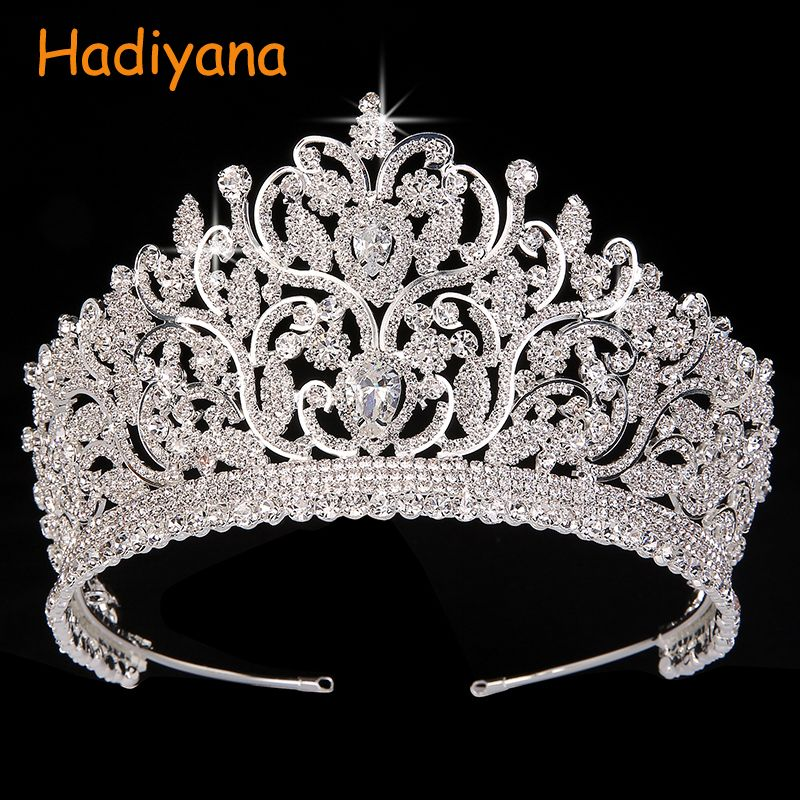 Hadiyana Vintage Totem Big Crowns 2018 AAA CZ Luxury Rhinestone Wedding Accessories Bridal Hair Tiaras Anniversary Crown BC3801