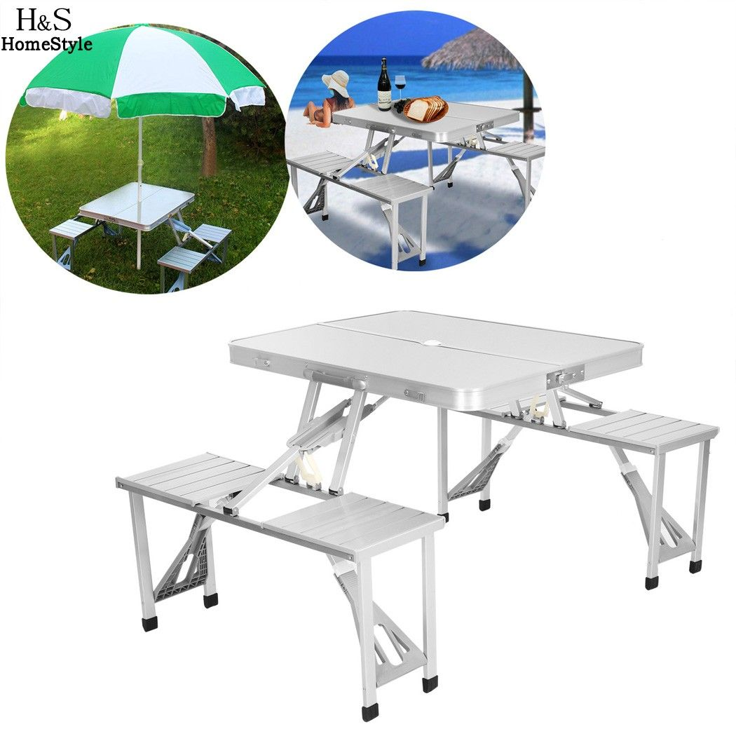 Homdox Outdoor Tables Portable Folding Desk Aluminum Alloy Picnic Table with 4 Seats Camping Garden Desk