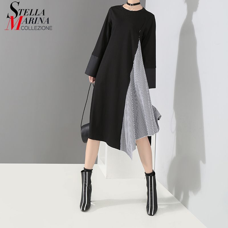 New 2018 Korean Style Women Autumn Black Green Dress Long Sleeve Striped Cloth Patchwork Girls Unique Wear Loose Midi Dress 7162