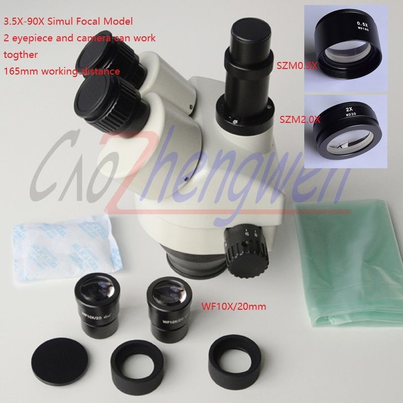 FYSCOPE 3.5X-90X Simul-Focal Trinocular Zoom Stereo Microscope Head can see 3 eyepiece in the same time