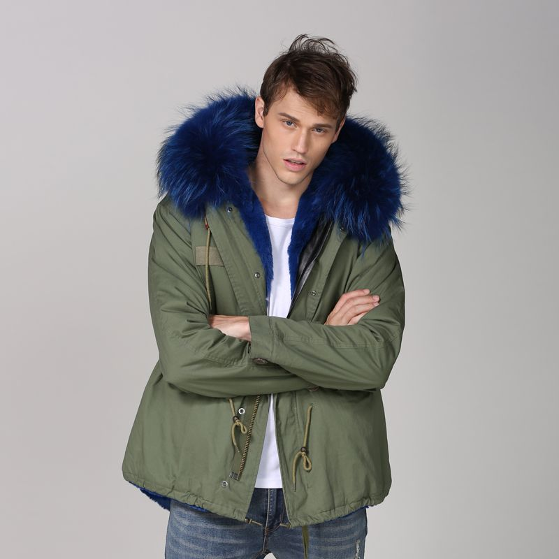 Green Fashion Short Blue Color Mens Casual Wear Real Raccoon Fur Hoodies Short Style Wear