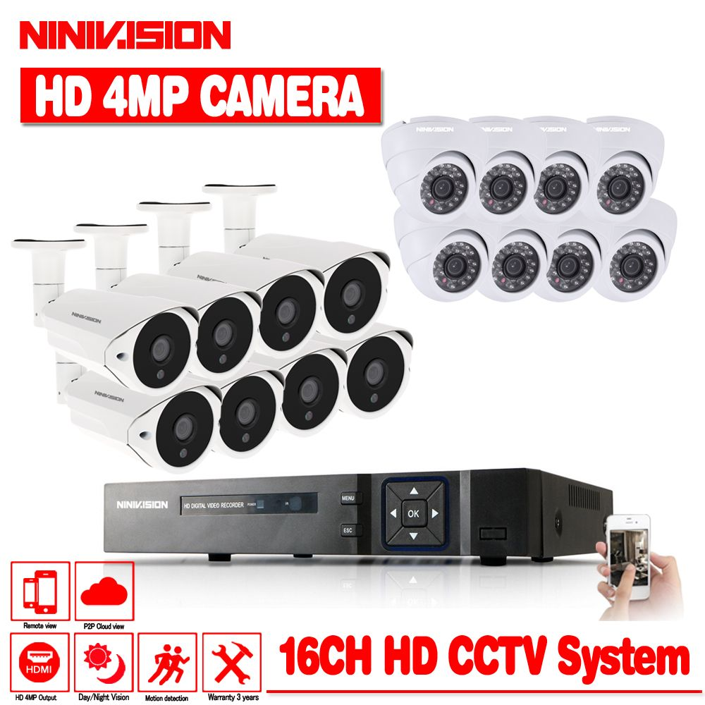 NINIVISION Neue Super Full HD 16CH AHD 4MP Hause Outdoor CCTV System Kit 16 Kanal Überwachung Kamera 4.0MP Sicherheit System kit