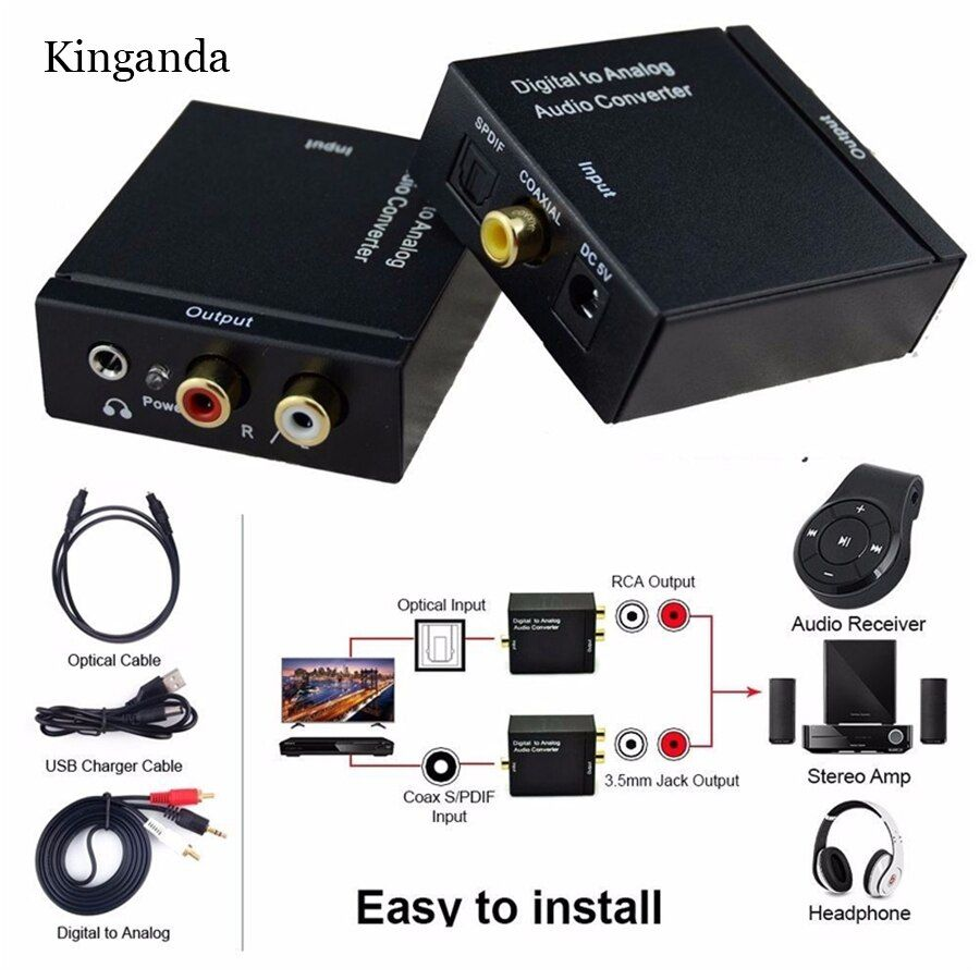 3.5mm Digital Coaxial Toslink Optical to Analog L/R RCA Audio Converter Adapter 3.5 mm Jack Female to 3.5 mm Jack Male USB Cable