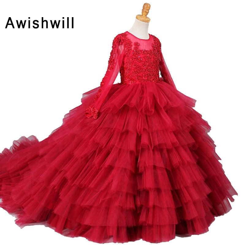 Real Photo Red Ball Gown Flower Girl Dresses 2018 Long Sleeve Beaded Appliques Tiered Tulle Girls Communion Dress Birthday Party