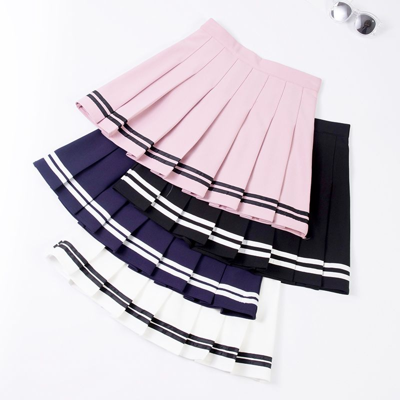 XS-XXL Four Colors High Waist A-Line Women Skirt Striped Stitching Sailor Pleated Skirt Elastic Waist Sweet Girls Dance Skirt