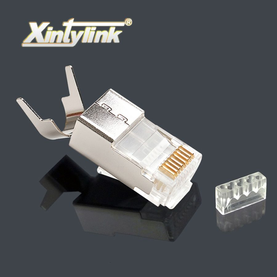 xintylink ethernet cable connector rj45 plug cat7 cat6a network load bar male 8P8C stp metal gold plated shielded 50u 1.5mm