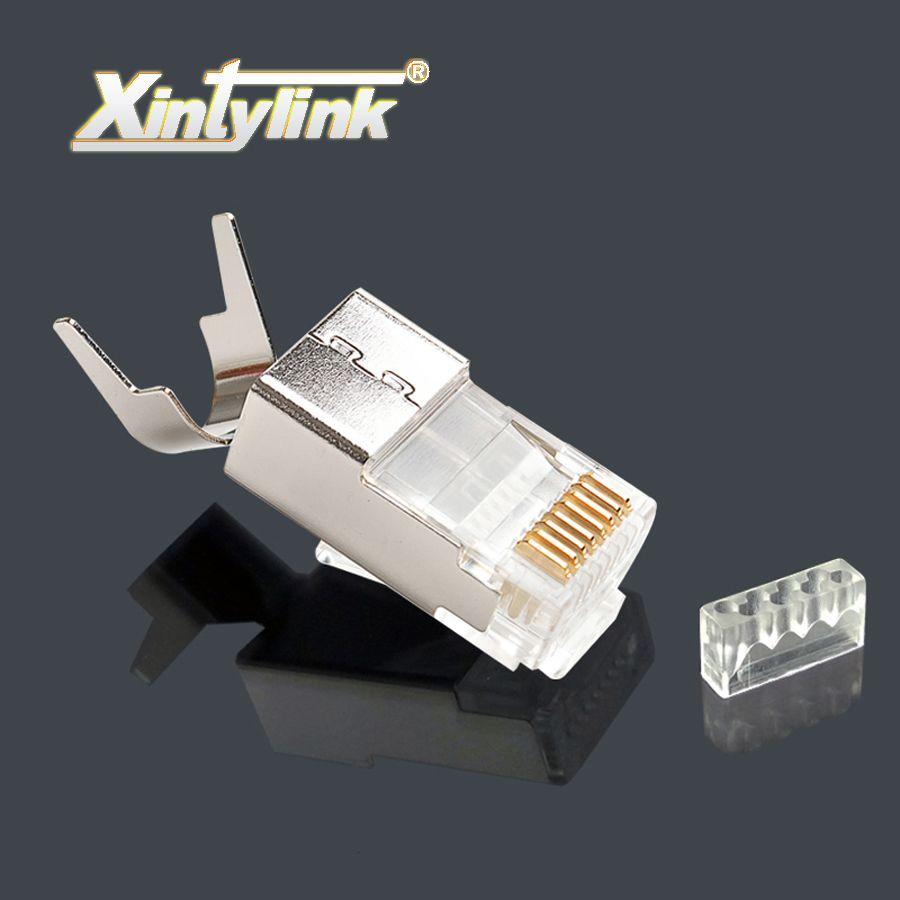 Xintylink ethernet câble connecteur rj45 plug cat7 cat6a réseau charge bar mâle 8P8C stp en métal plaqué or blindé 50u 1.5mm