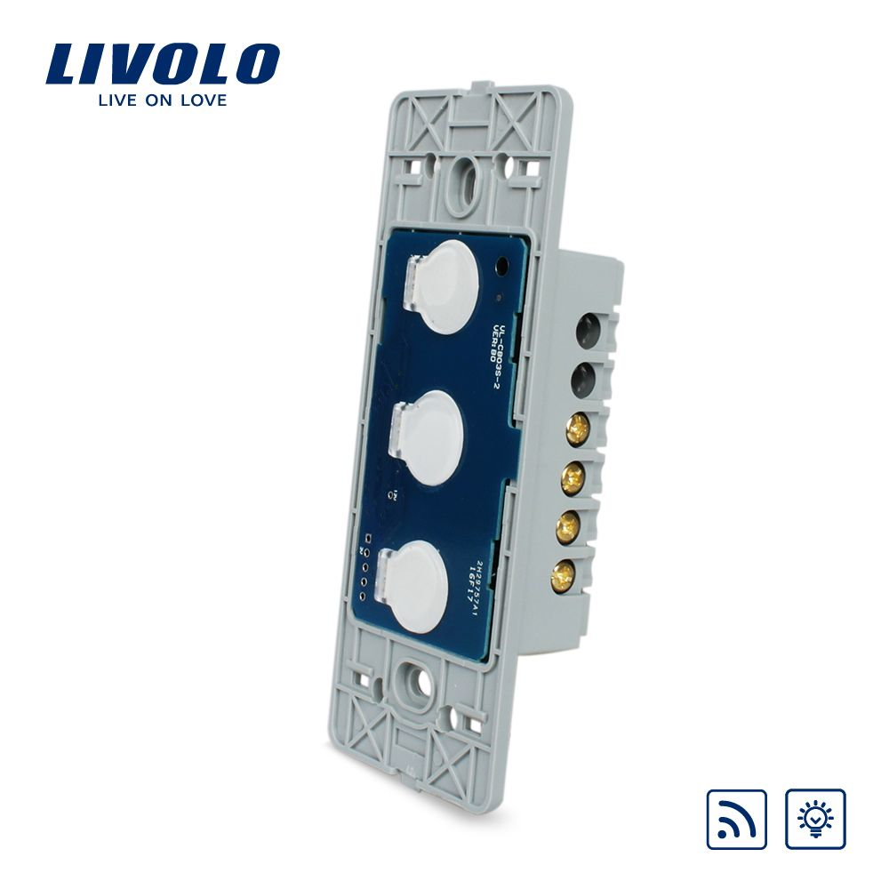 Livolo US standard Wall Light Touch Dimmer &Remote Switch Base board ,3gang 1way ,Without Glass Panel, VL-C503DR