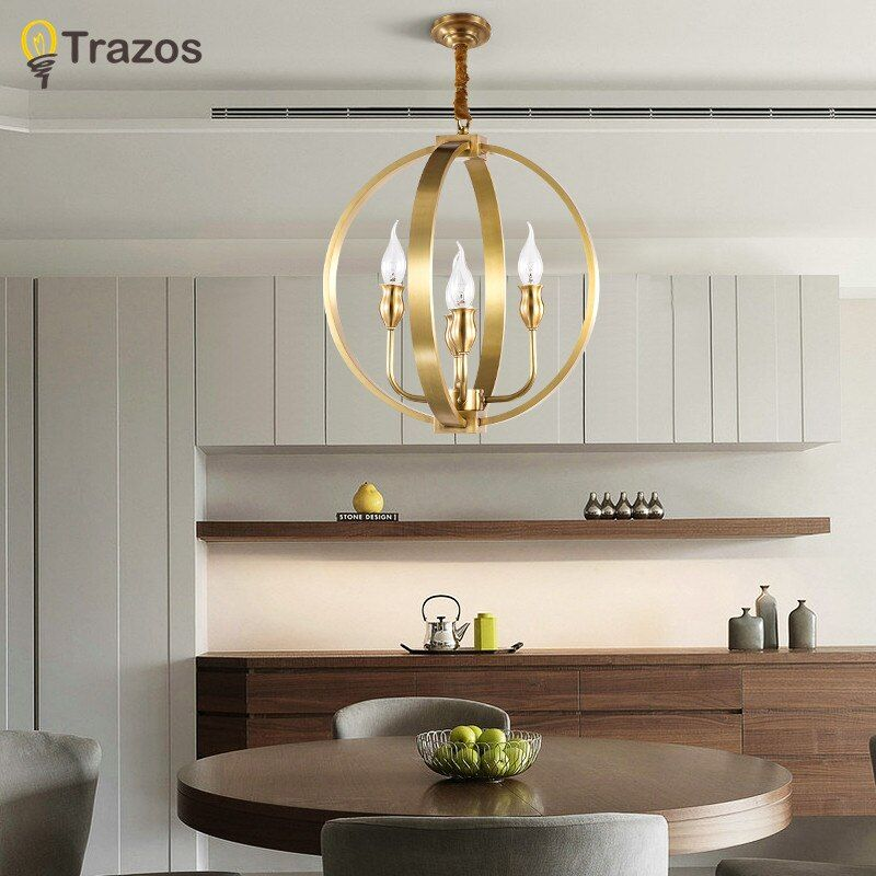 TRAZOS Birdcage design Chandeliers Lighting copper Lamps For Dining Room Lustre Moderne Bedroom Lighting copper Chandelier