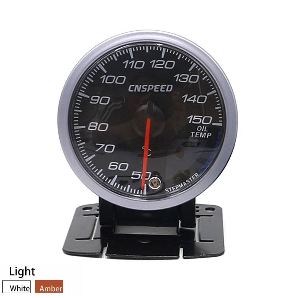 CNSPEED 60MM Black Face Car Oil Temperature Gauges 50-150C Oil Temp Sensor With Red & Amber Lighting Car meter