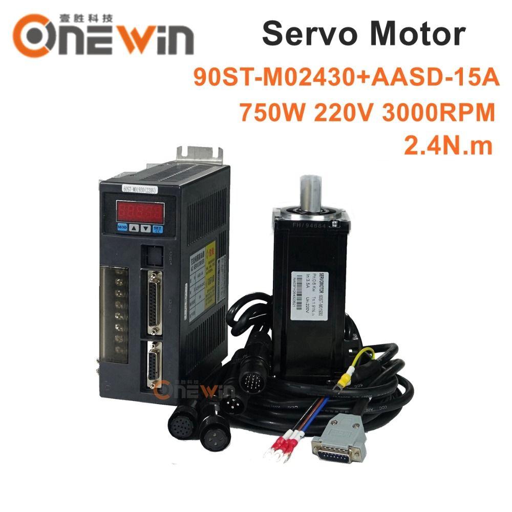 90ST-M02430 750W 220V AC servo motor driver kit 3000rpm 2.4N.m match driver AASD-15A permanent magnet