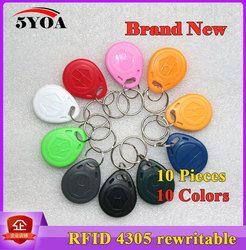 10 Pcs/lot Copy EM4305 Rewritable RFID EM ID keyfobs Ditulisi Rewrite Proximity Token Tag Kunci Kartu Cincin 125 KHZ Akses duplikat