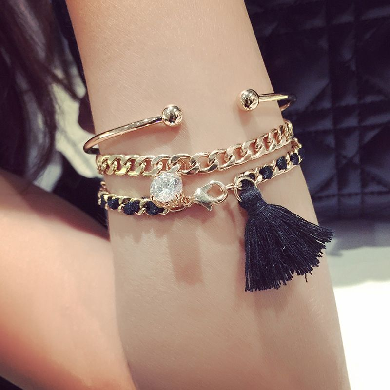 New Three-Tier Chain Inlaid With Water Drift Tassel Opening Bracelet Exaggerated Personality Multi-Layer Mashup Decoration Femal