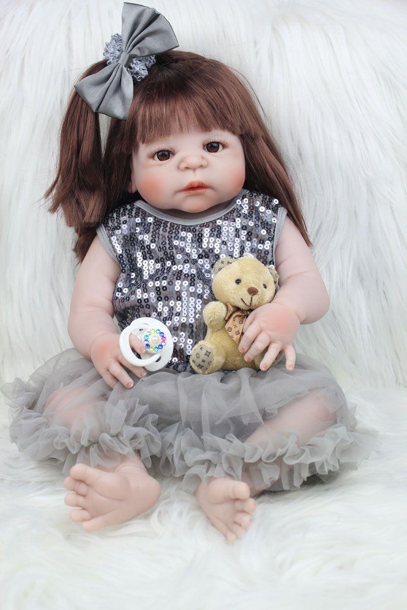 55cm Full Body Silicone Reborn Girl Baby Doll Toys Like Real 22inch Newborn Princess Toddler Babies Dolls Bathe Toy Xmas Gift