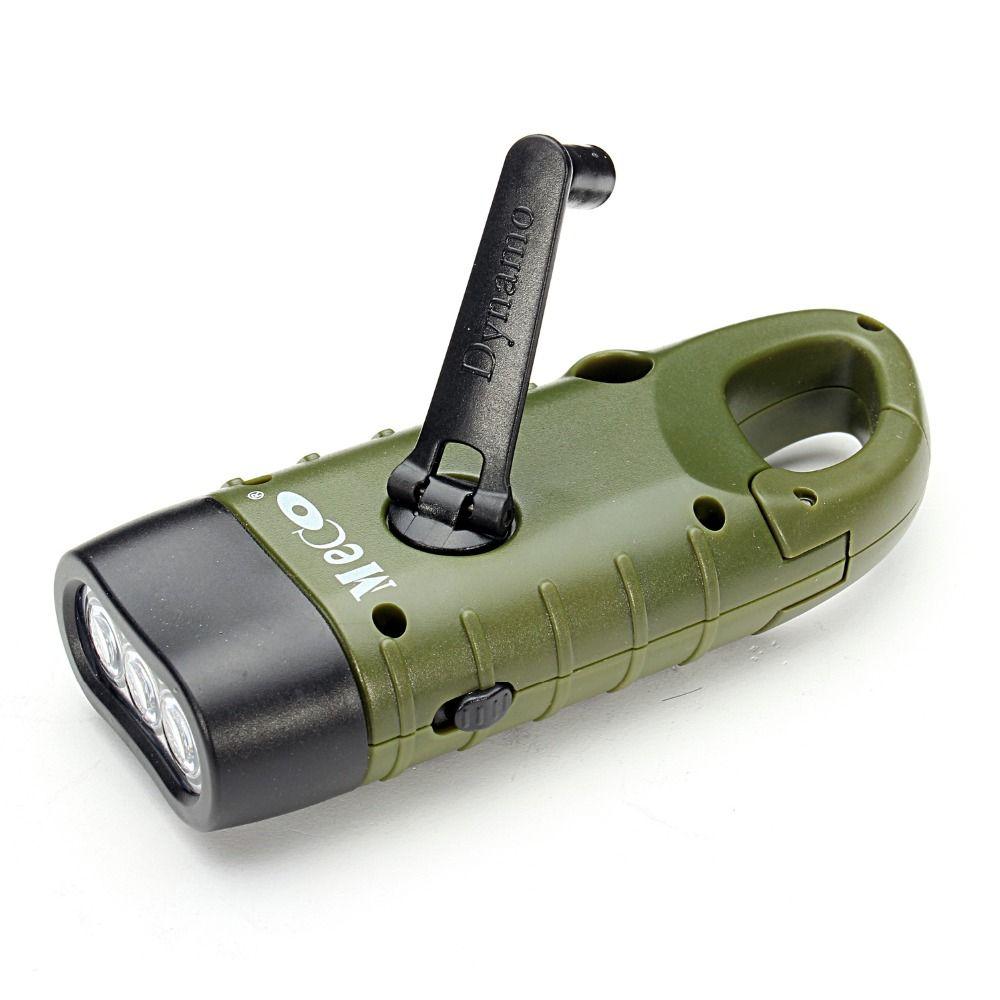 Mini D'urgence Manivelle Dynamo Solaire lampe de Poche Rechargeable LED Lumière Lampe Charge Puissante Torche Pour Camping En Plein Air