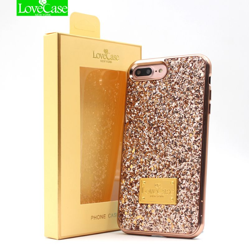 Lovecase 2 в 1 Full-Wrap Чехол для iPhone 6S 7 8 Plus gleam Blink женщин задняя крышка для iPhone 7 плюс 8 плюс крышка Fundas