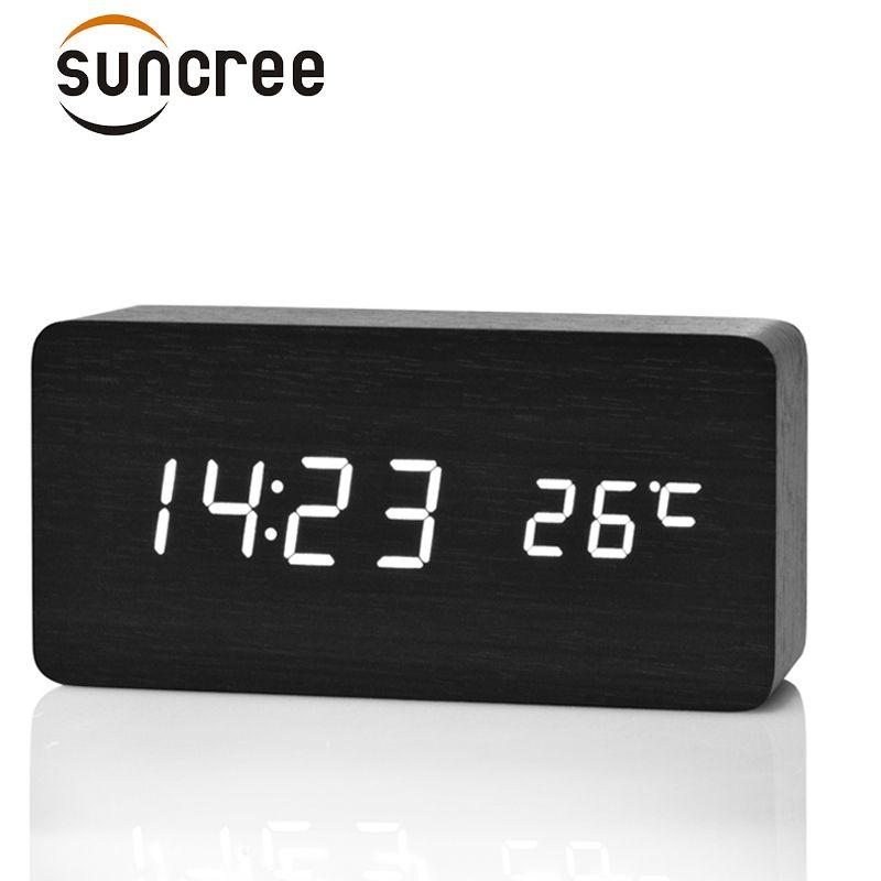 Suncree Wooden LED Alarm Clock Display Date+Time+Celsius/Fahrenheit Temperature Sound Control Function A Table Desktop Clocks