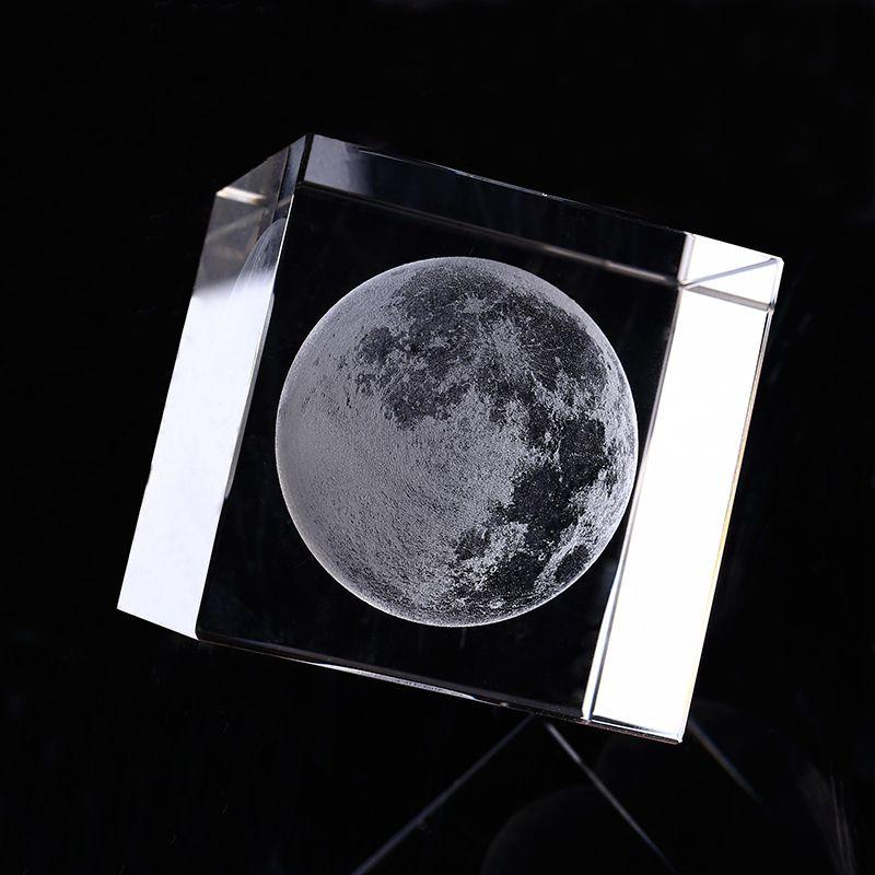 6cm 3D Laser gravé lune cristal Cube ornements verre Miniatures pour cadeaux accessoires de décoration de la maison artisanat astronomique