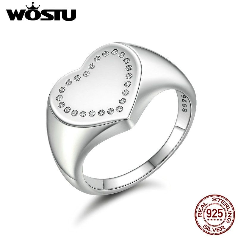 WOSTU New Arrival Real 925 Sterling Silver Heart Signet Finger Rings For Women Wedding Jewelry Gift FB7639