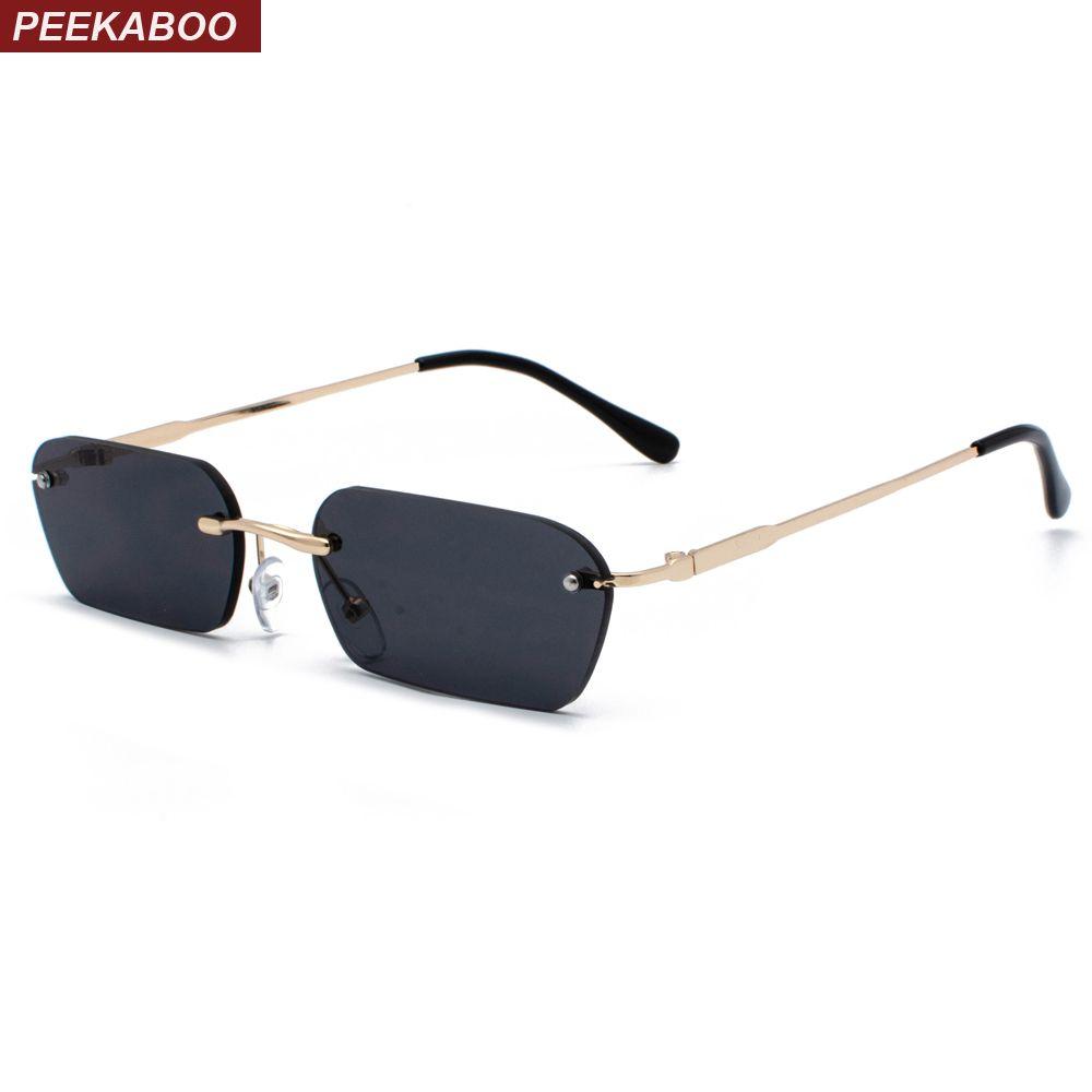 Peekaboo sans monture rectangle lunettes de soleil femmes couleur claire 2019 été accessoires carré lunettes de soleil pour hommes petite taille uv400