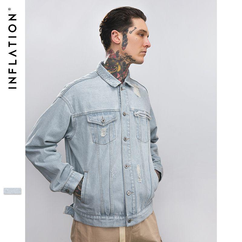 INFLATION Men Hip-Hop Casual Washed Damaged Denim jacket coat Men jacket Man Man Hip Hop Tape Hole loose Coat 8753W