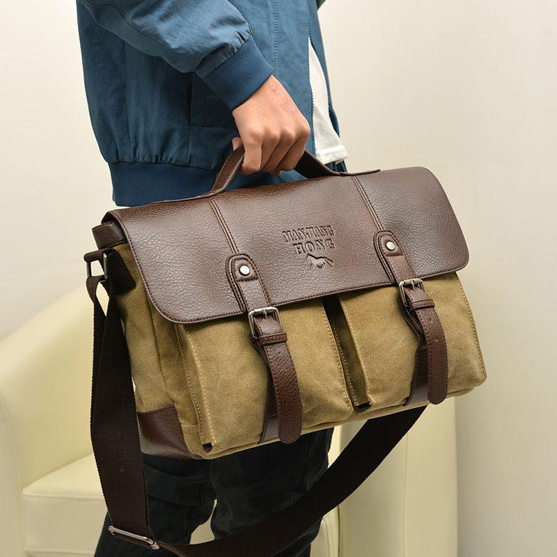 2017 Men Canvas vintage Casual Briefcase Business Shoulder Bag Messenger Bags Computer Laptop Handbag Bag Men's Travel Bags