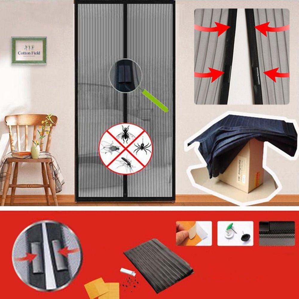 Negro Manos Libres Magnética Puerta Mosquitera Anti Mosquito Duradero Suave Cortina De Malla Bug Verano Estilo de Malla Neto 100x210 CM