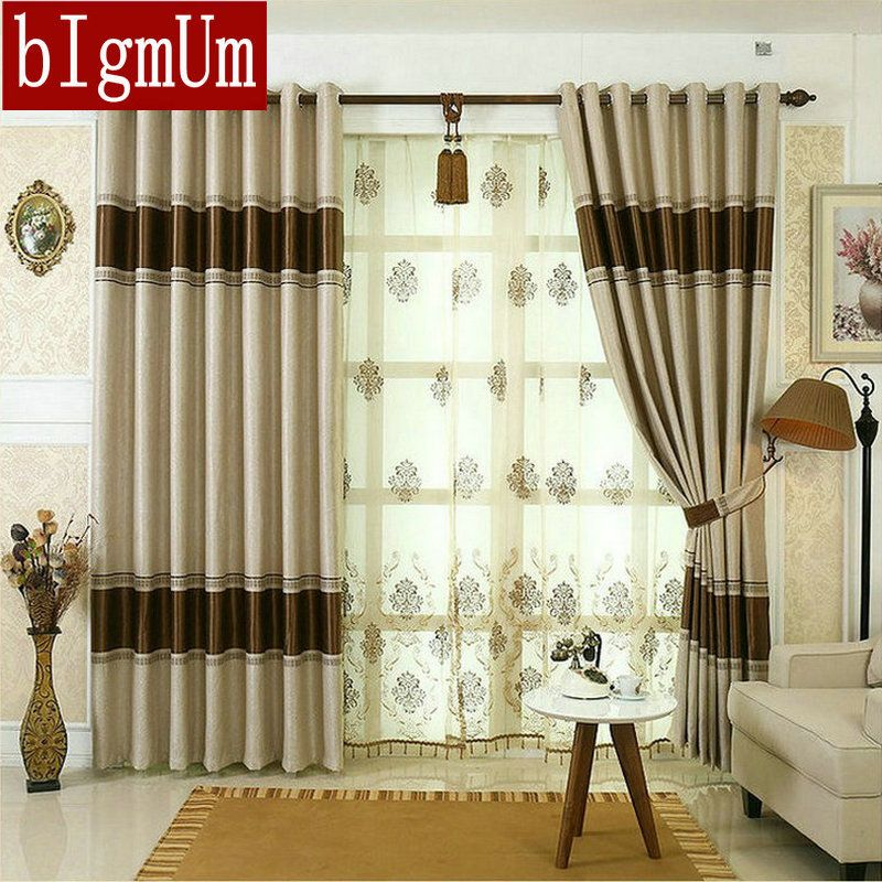 Blackout Curtains for Living Room Hotel European Simple Design Window Drape Embroidered Tulle Beaded Manufactured Yarn Drapes
