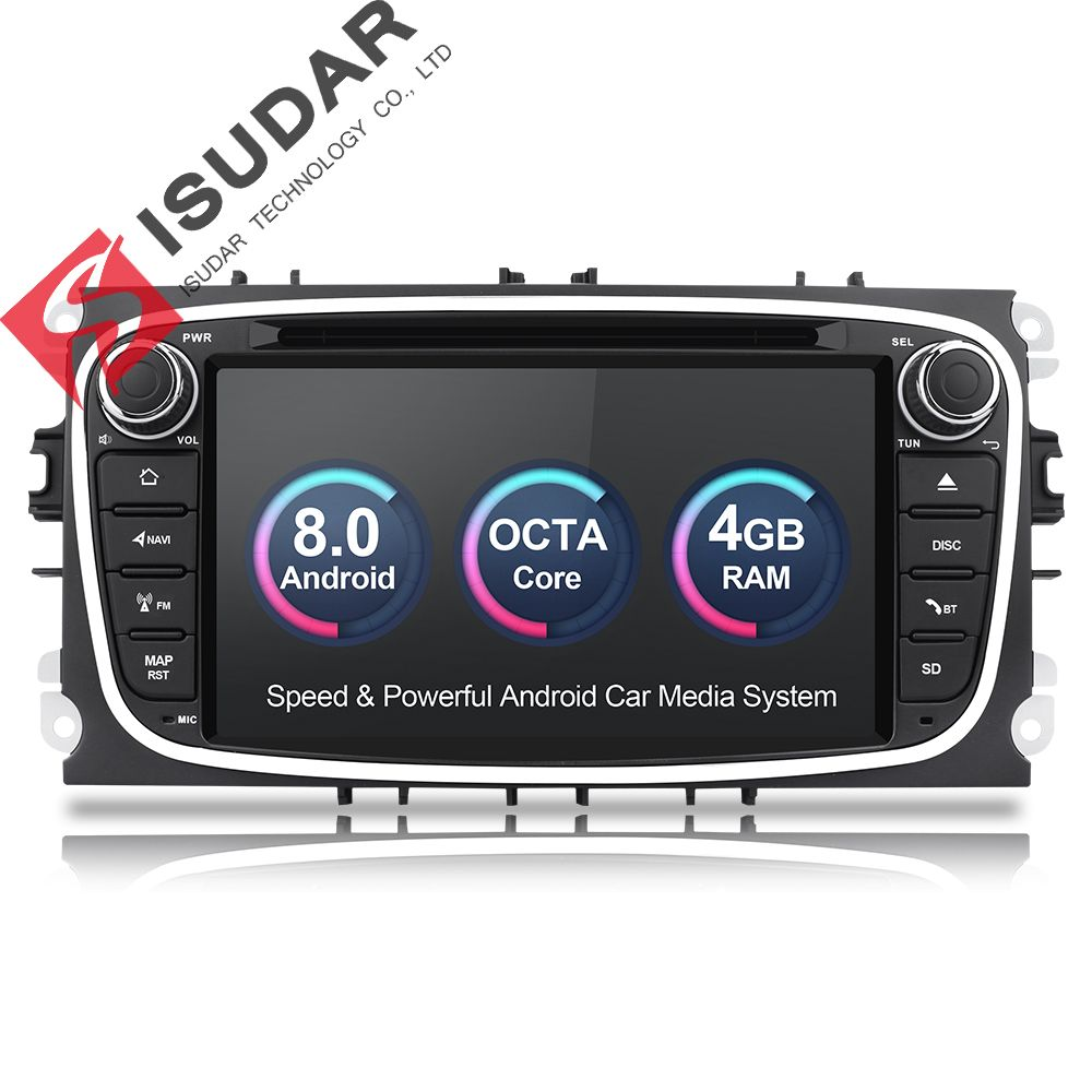 Isudar Car Multimedia player Android 8.0 GPS Autoradio 2 Din For FORD/Focus/Mondeo/S-MAX/C-MAX/Galaxy RAM 4GB 32GB Radio DSP